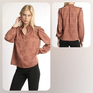 ANTHROPOLOGIE BLOUSE HIGH NECK RUFFLE DETAIL NWT!